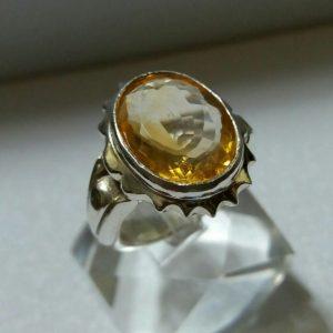 انگشتر سیترین اصلی معدنی زیبا