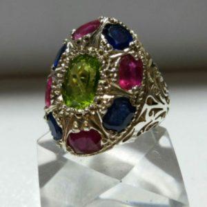انگشتر جواهری یاقوت کبود و یاقوت قرمز و زبرجد اصلی درجه یک