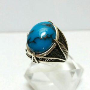 انگشتر فیروزه مصری درجه یک خوش رنگ