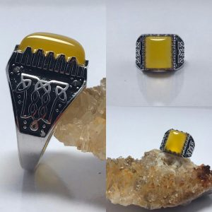 انگشتر عقیق زرد شرف شمس زیبا اصل