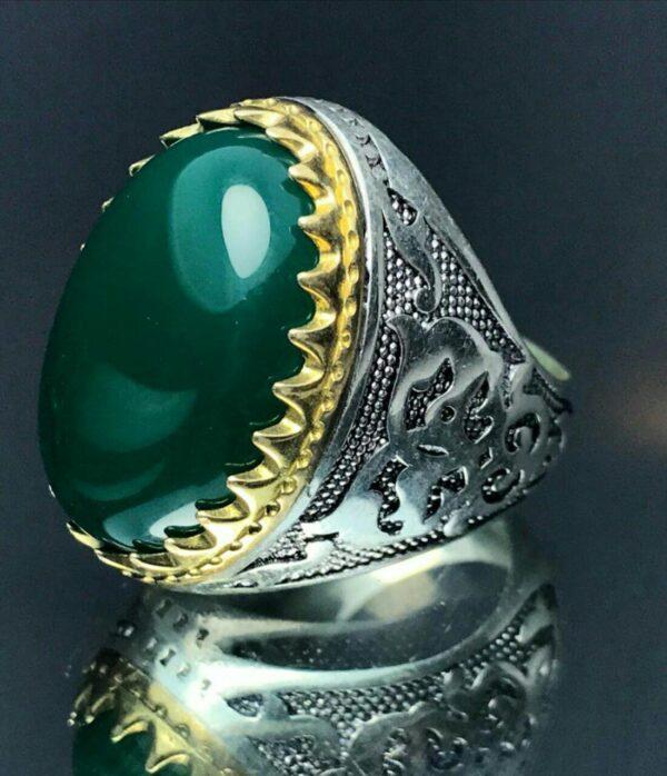 انگشتر عقیق سبز زیبا
