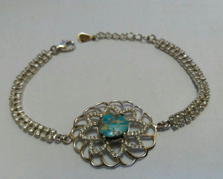 دستبندجواهری نگین فیروزه نیشابوری اصلی