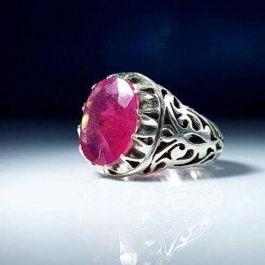 انگشتر یاقوت قرمز معدنی
