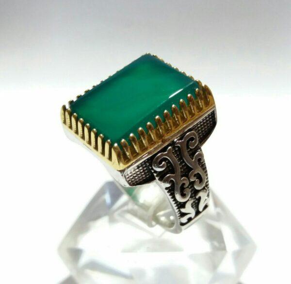 انگشتر عقیق سبز درجه یکسیاه قلم