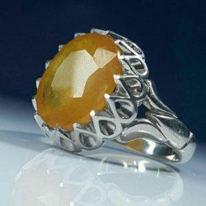 انگشتر یاقوت زرد اصلی معدنی