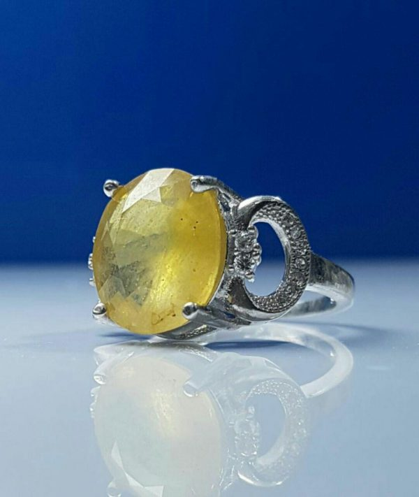 انگشتر جواهری یاقوت زرد معدنی