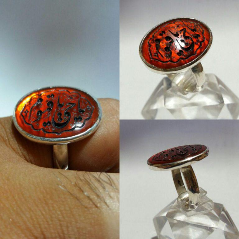 انگشتر عقیق خوش رنگ خطی یا حی یا قیوم خط گود