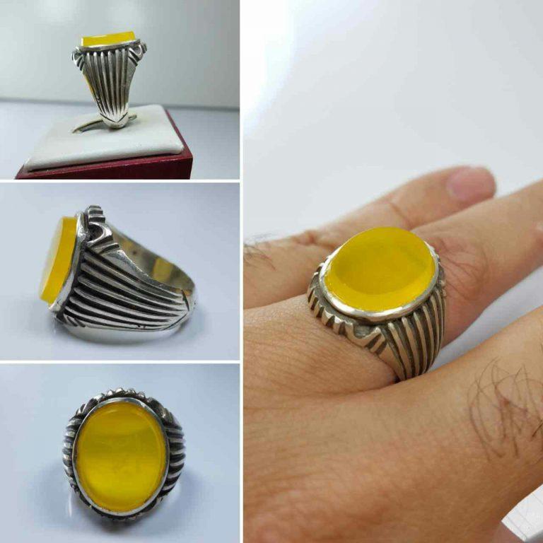 انگشتر عقیق زرد خوش رنگ
