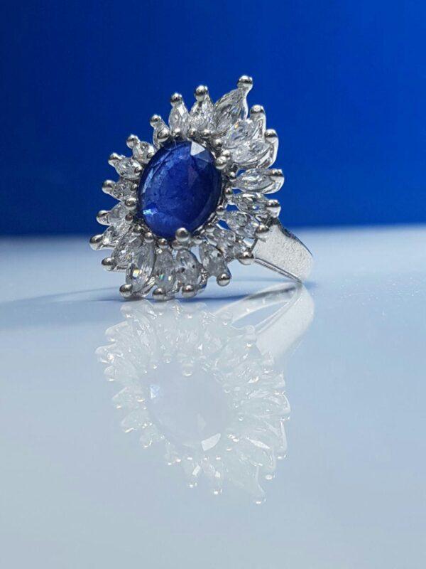 انگشتر جواهری یاقوت کبود اصل