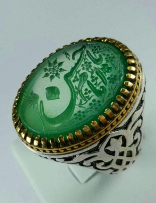 انگشتر عقیق سبز خطی خط دستی