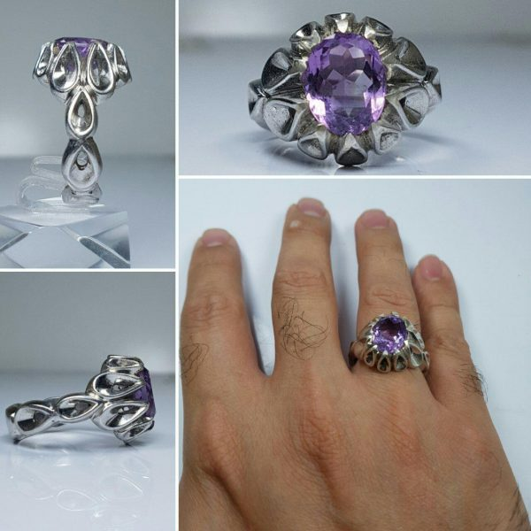 انگشتر آمتیست اصلی خوش رنگ طبیعی