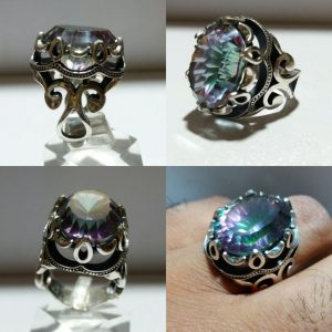 انگشتر توپاز ۷ رنگ خاص زیبا