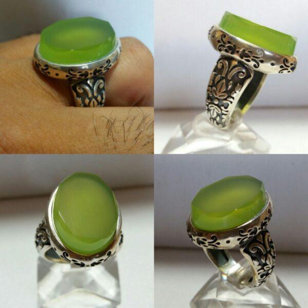انگشتر عقیق سبز انگوری خوش اب الماس تراش