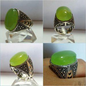 انگشتر عقیق سبز انگوری خوش اب زیبا
