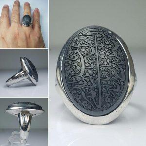 انگشتر حدید خطی صلوات خاصه حضرت فاطمه زهرا(ص)