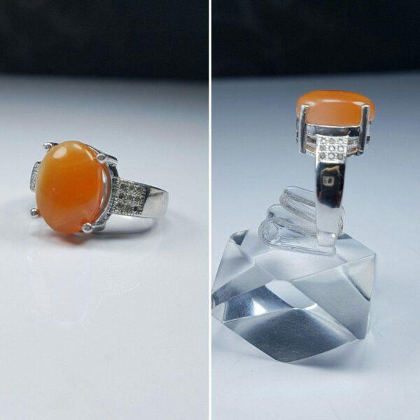 انگشتر عقیق یمنی پرتقالی خوش رنگ