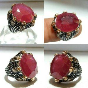 انگشتر یاقوت قرمز اصل معدنی