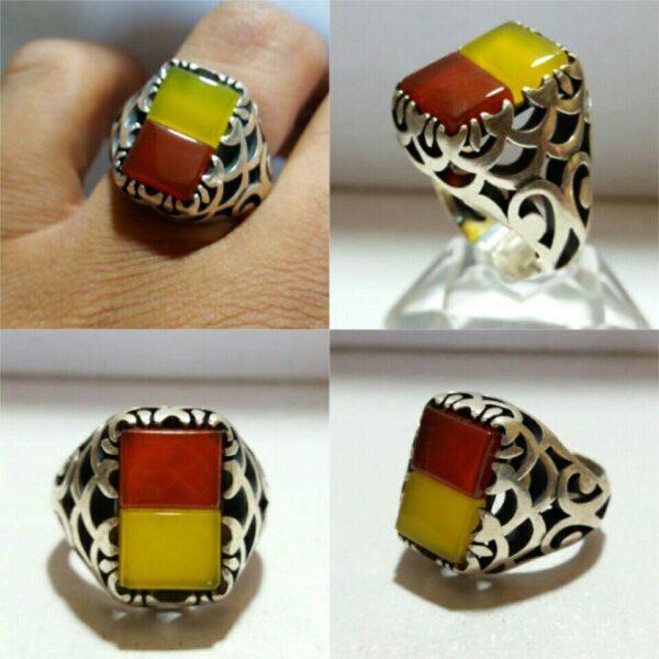 انگشتر عقیق زرد و عقیق قرمز دو رنگ زیبا