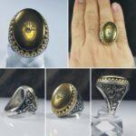 انگشتر حدید عین علی طلایی زیبا