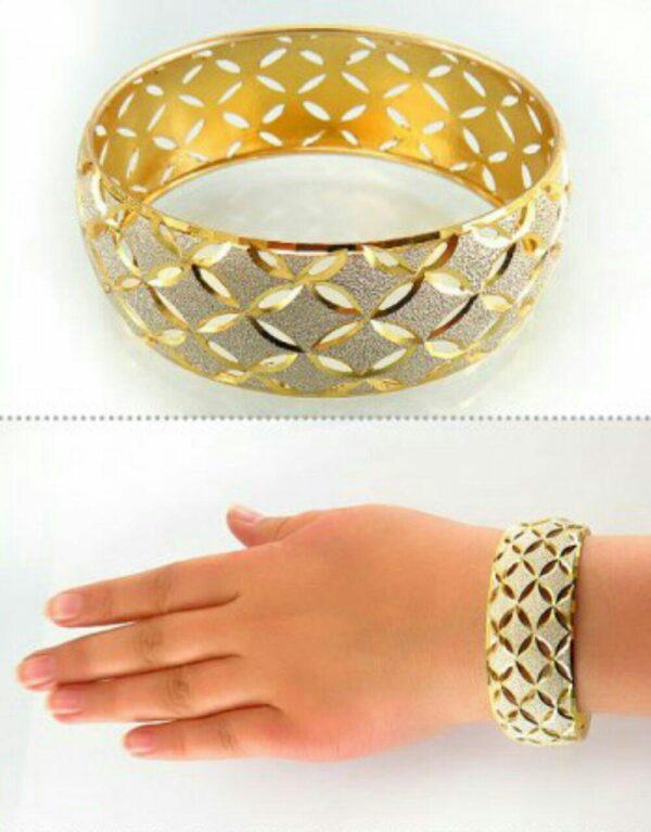 النگو نقره زیبا و خاص با اب کاری طلا زرد