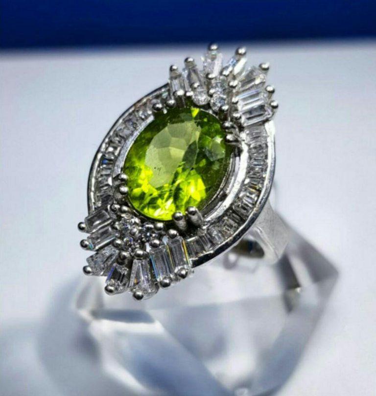 انگشتر زبرجد اصلی زیبا و خوش رنگ