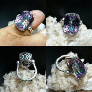انگشتر توپاز هفت رنگ زیبا