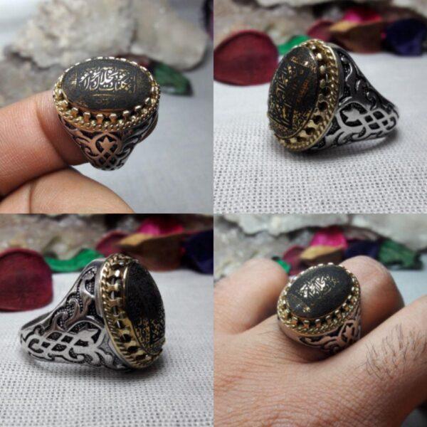 انگشتر حدید ۷ جلاله طلایی زیبا