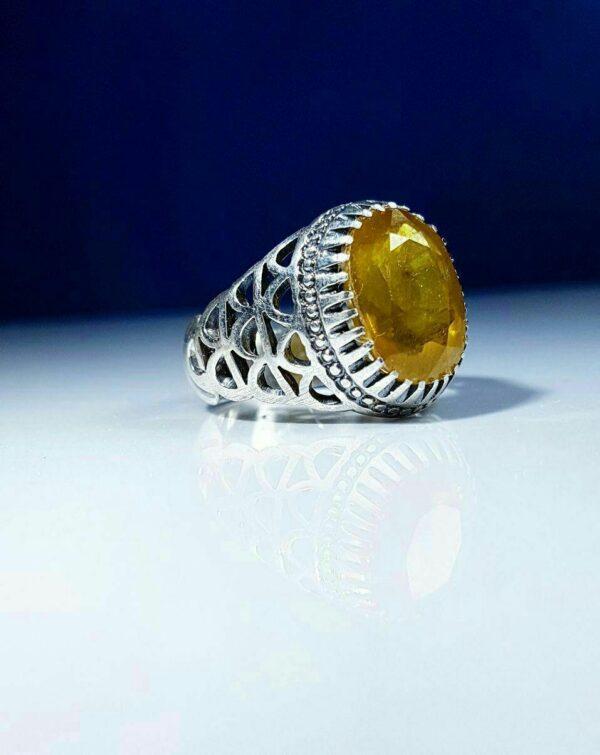 انگشتر یاقوت زرد معدنی اصلی