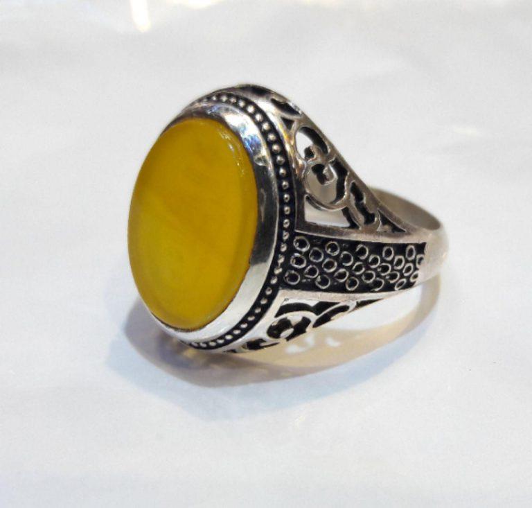 انگشتر عقیق زرد شرف شمس به وقت