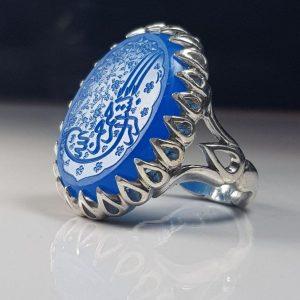 انگشتر عقیق کاربنی بسم الله خط دستی زیبا