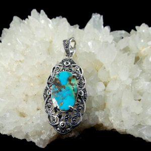 مدال فیروزه نیشابور اصلی نقره مارکازیت زیبا
