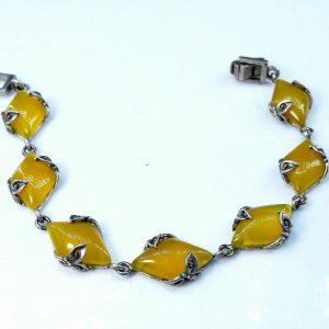 دستبند نقره عقیق زرد زیبا