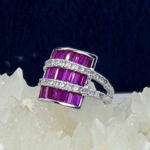 انگشتر سنگ اتمی صورتی زیبا