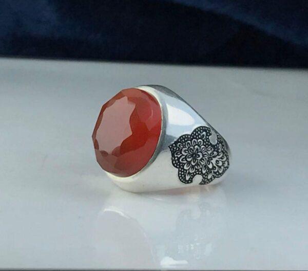 انگشتر عقیق یمن اصلی الماس تراش زیبا