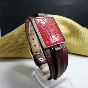 دستبند چرم شتر و عقیق سرخ خراسانی خطی زیبا بزرگ