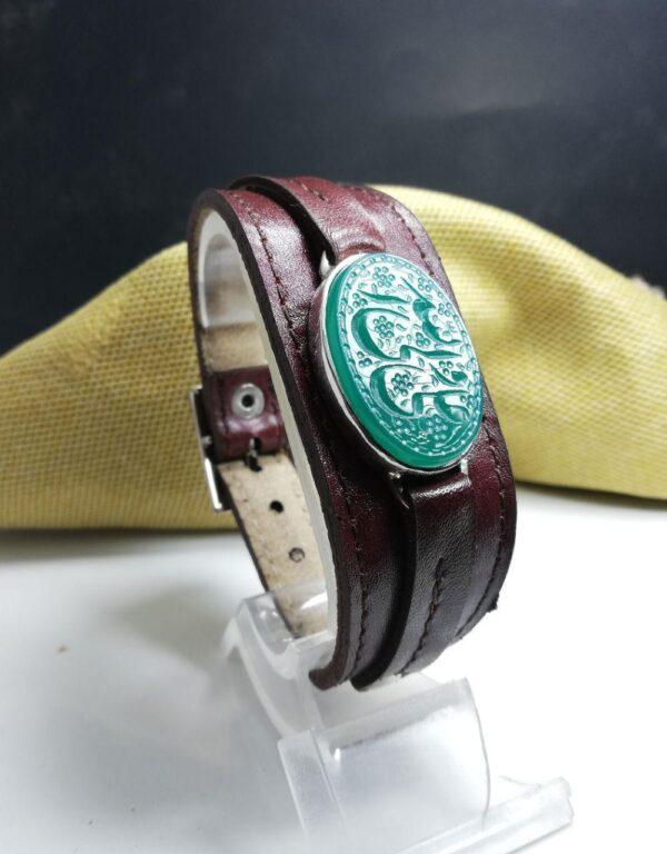 دستبند چرم شتر و عقیق سبز خراسانی خطی