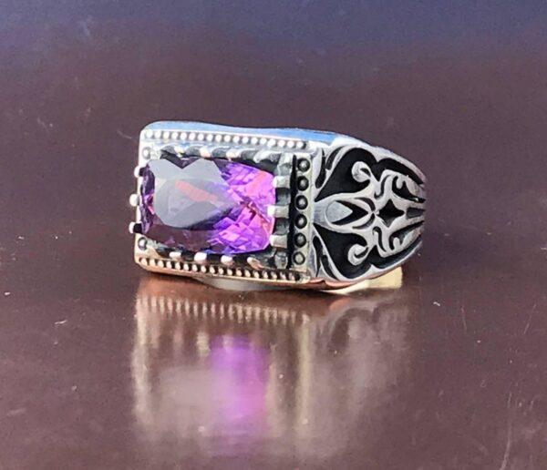 انگشتر اماتیس اصلی خوش رنگ زیبا