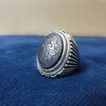 انگشتر حدید سینی 7 جلاله خط دستی زیبا