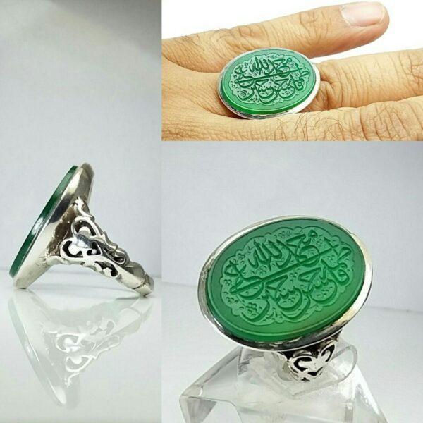 انگشتر عقیق سبز خراسانی خطی زیبا