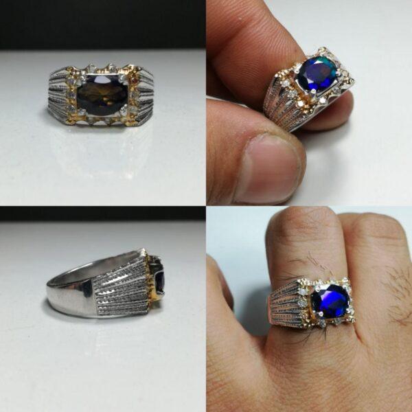 انگشتر بلک اوپال استرالیا تراش الماس زیبا