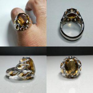 انگشتر سیترین طلایی خوش رنگ اصلی
