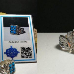 انگشتر جواهری فیروزه نیشابوری 6 نگین درجه یک زیبا