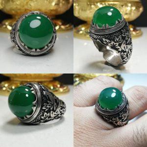 انگشتر عقیق سبز خراسانی خوش رنگ