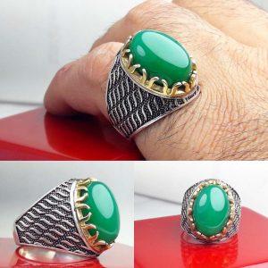 انگشتر عقیق سبز رکاب چنگی