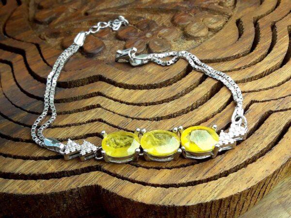 دستبند زنانه جواهری 3 نگین یاقوت زرد اصل