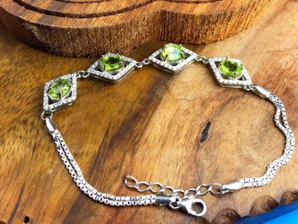دستبند زنانه جواهری 4 نگین اصل زبرجد