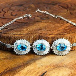دستبند زنانه جواهری 3 نگین توپاز سویسی اصل