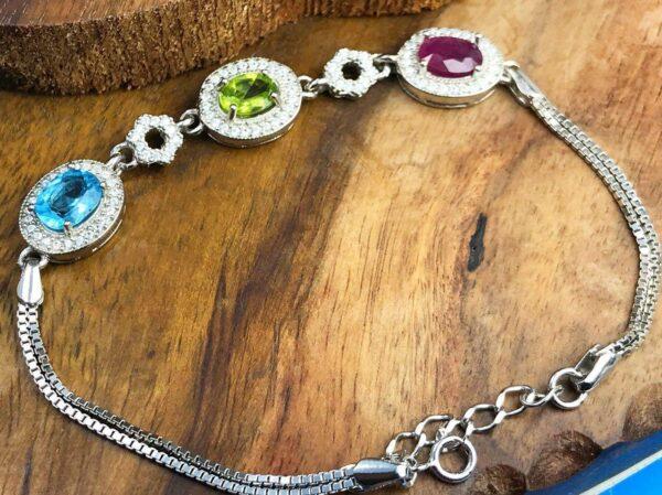 دستبند زنانه جواهری 3 نگین اصلی زبرجد یاقوت توپاز