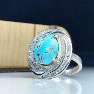 انگشتر زنانه جواهری فیروزه نیشابوری اصل