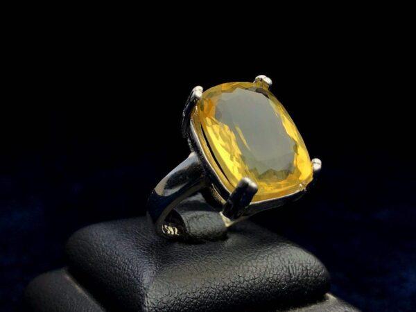 انگشتر زنانه سیترین طلایی اصلی زیبا
